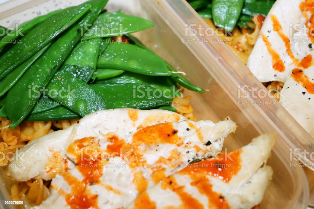 Chicken with Sweet Chilli Sauce and Mange Tout Meal Preparation stock photo