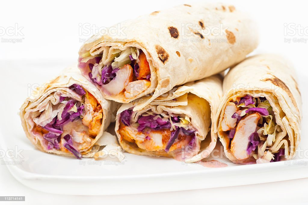 chicken wraps against white background royalty-free stock photo