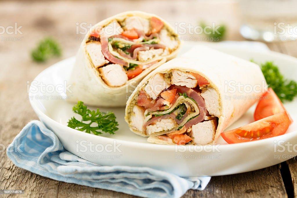 Chicken wraps stock photo