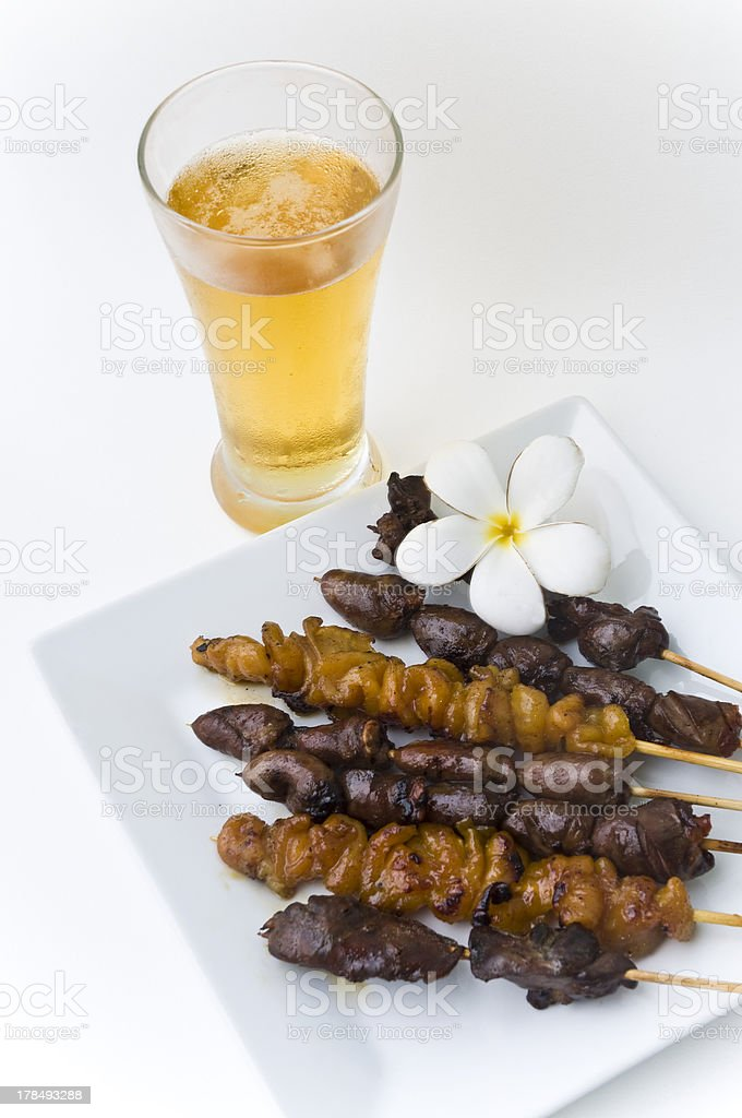 Chickens barbecue with beer royalty-free stock photo