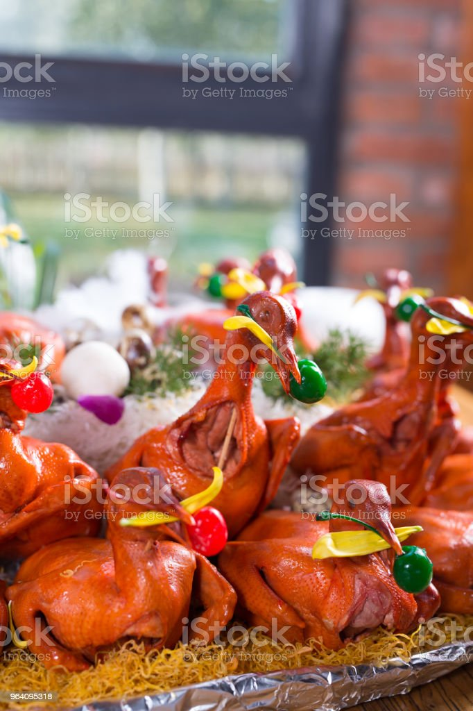 Chickens roasted in plate - Royalty-free 2015 Stock Photo