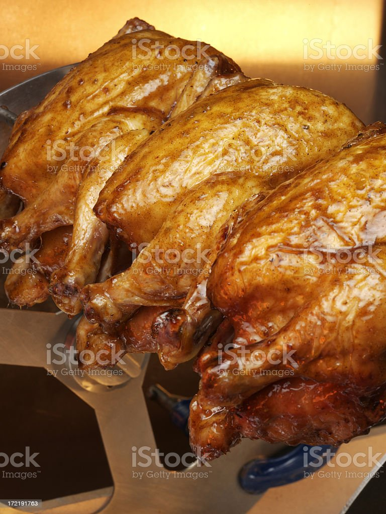 Chickens Roasting royalty-free stock photo
