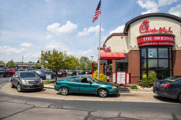 Chick-fil-A chicken restaurant. Despite ongoing controversy, Chick-fil-A is wildly popular I Indianapolis - Circa May 2019: Chick-fil-A chicken restaurant. Despite ongoing controversy, Chick-fil-A is wildly popular I despite stock pictures, royalty-free photos & images