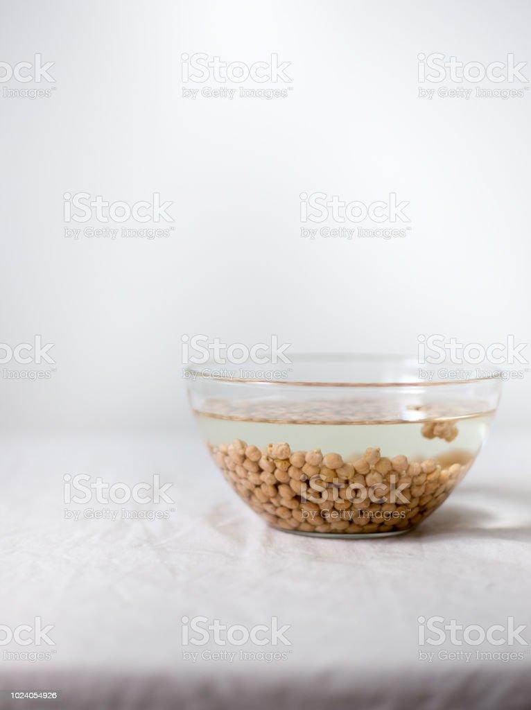 Chickpea broth - aquafaba. Replace egg in baking for vegan recipe stock photo