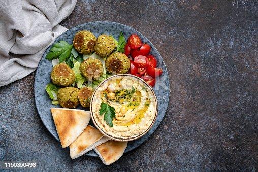 Chickpea hummus with falafel and pita bread. Vegan, vegetarian arabian food. Top view, Copy space