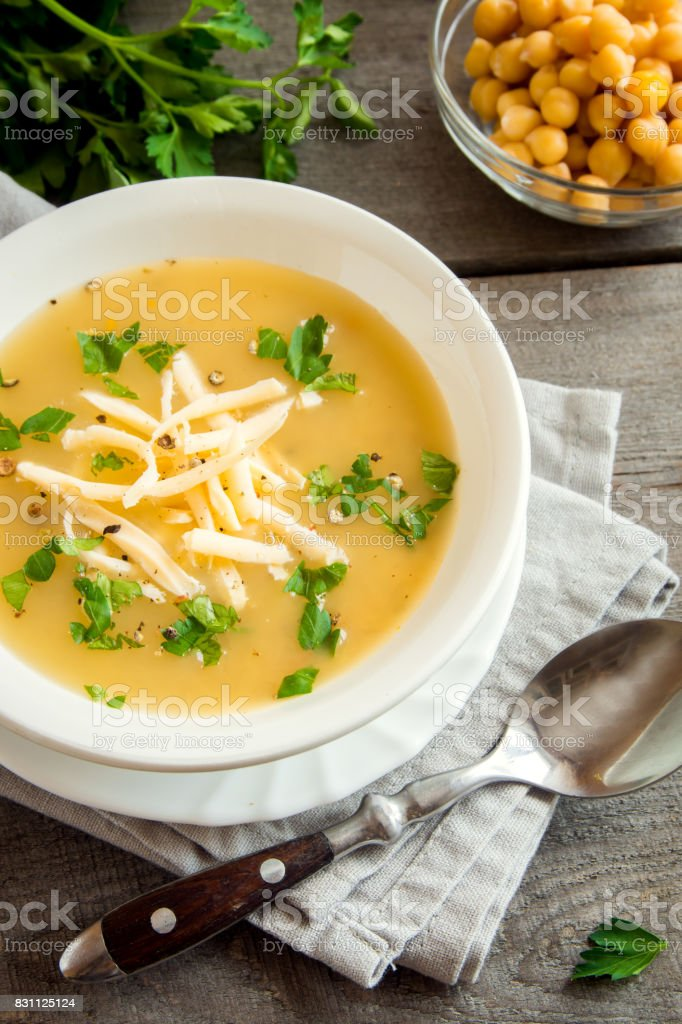 Chickpea Soup with Cheese stock photo