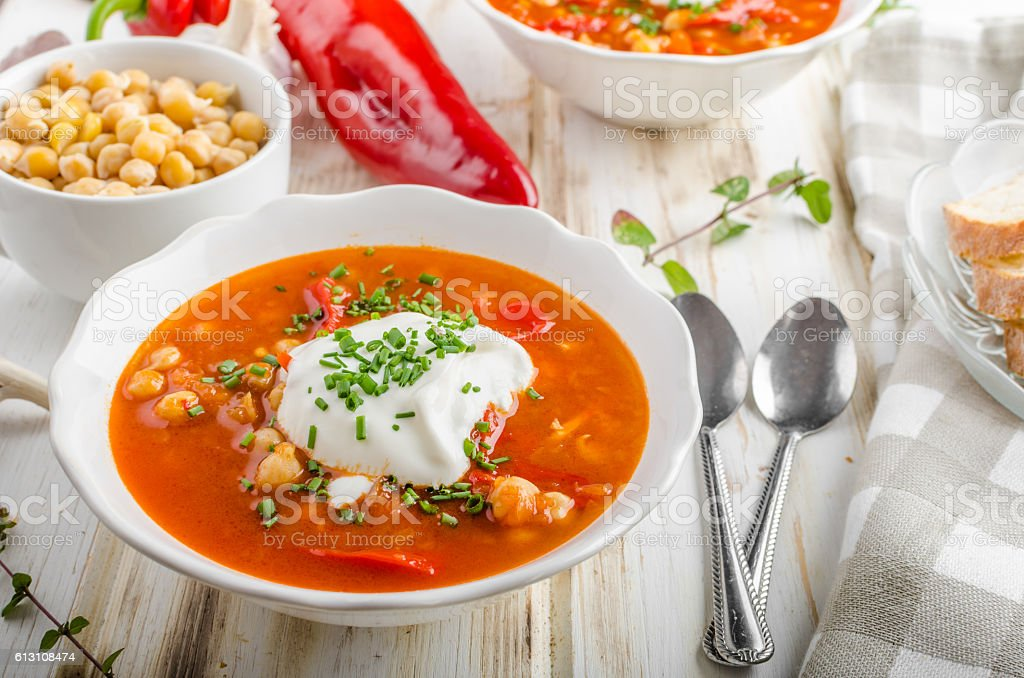 Chickpea soup with pepper stock photo