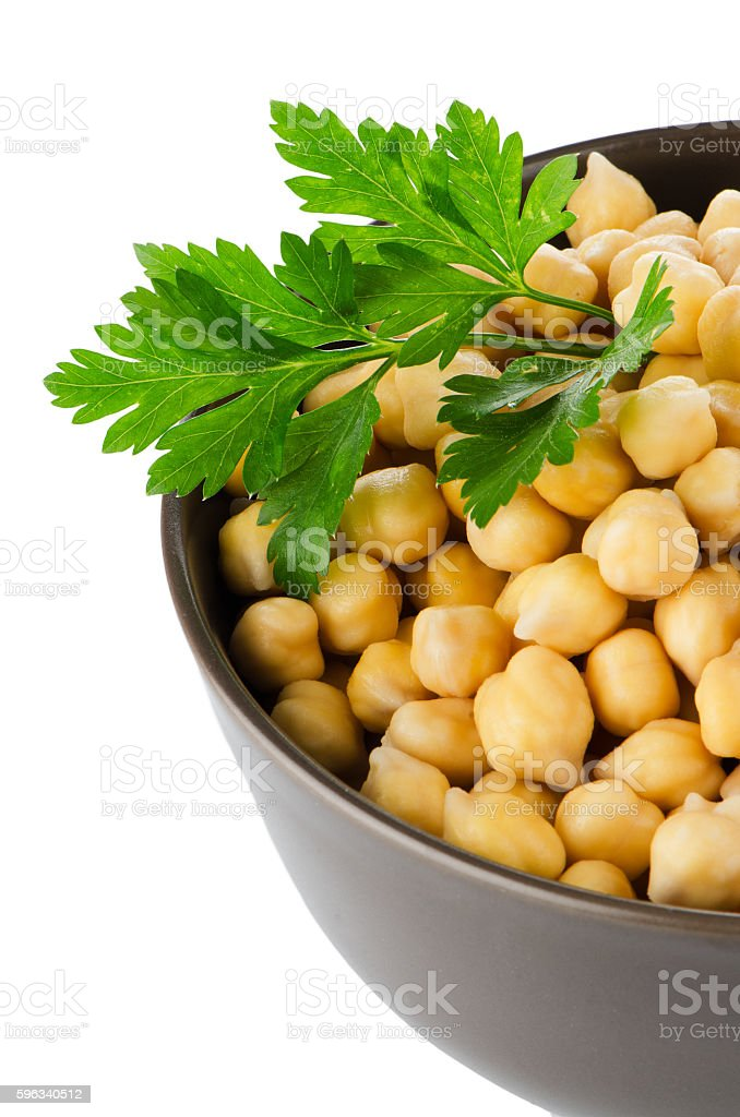 Chickpeas in a brown bowl royalty-free stock photo