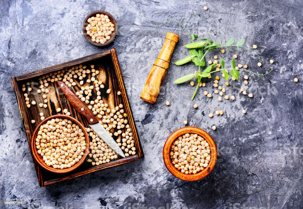 Chickpeas, the basis of vegetarian cuisine stock photo