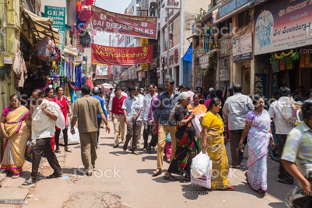 Chickpet St in downtown Bangalore, India stock photo