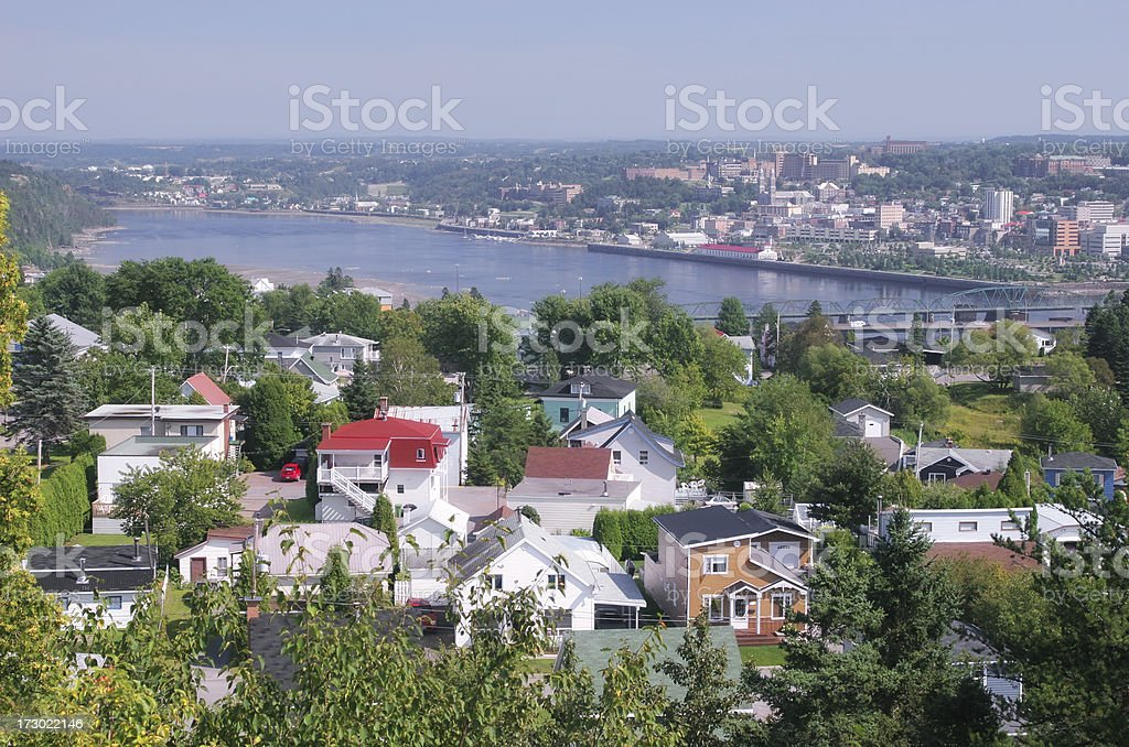 Chicoutimi city and the Saguenay river stock photo