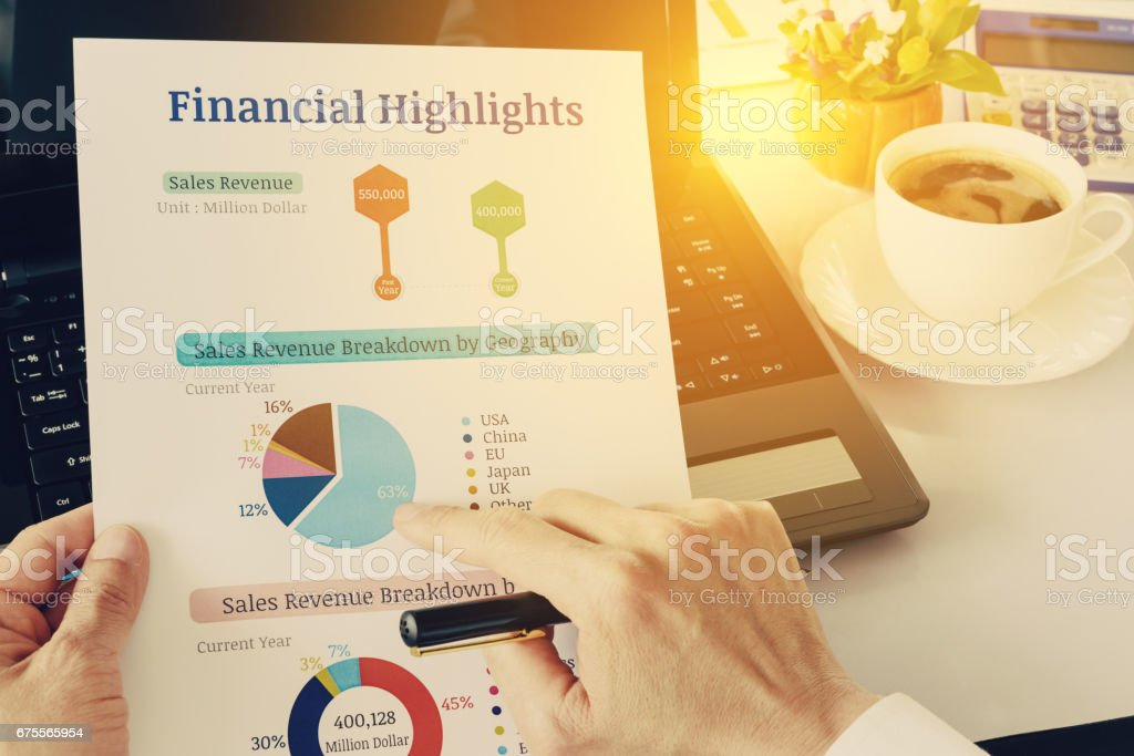 Chief financial officer or CFO holds, sees and analyses financial highlights. stock photo