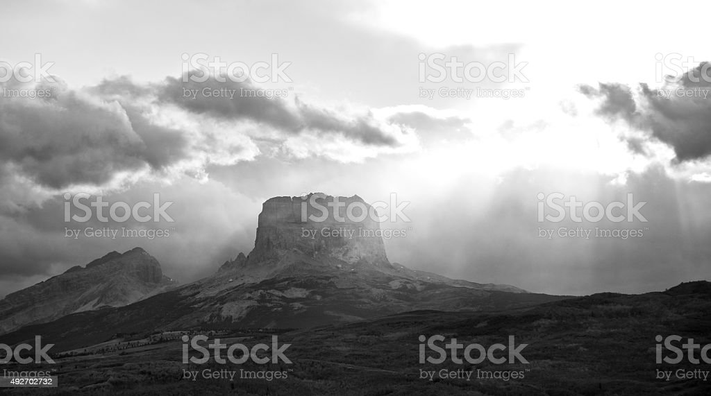 Chief Mountain in Black and White stock photo