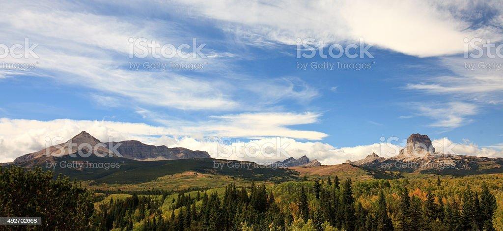 Chief Mountain Panorama stock photo