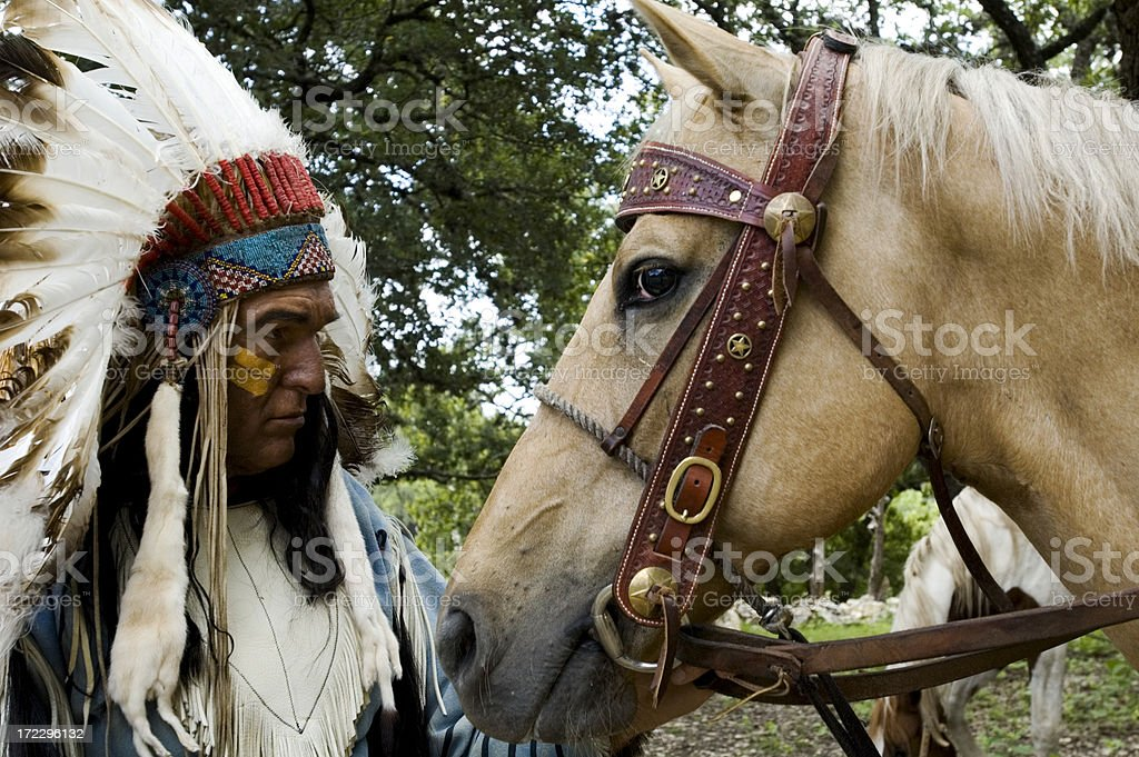 chief with his horse royalty-free stock photo