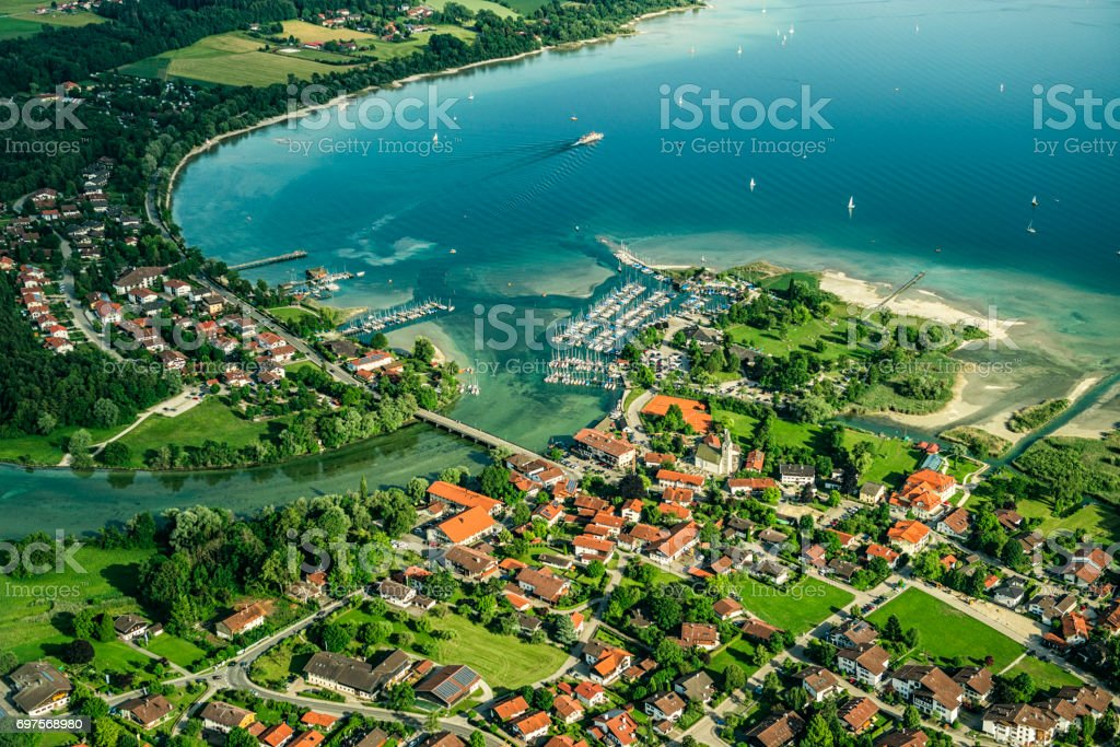 chiemsee at seeon-seebruck stock photo