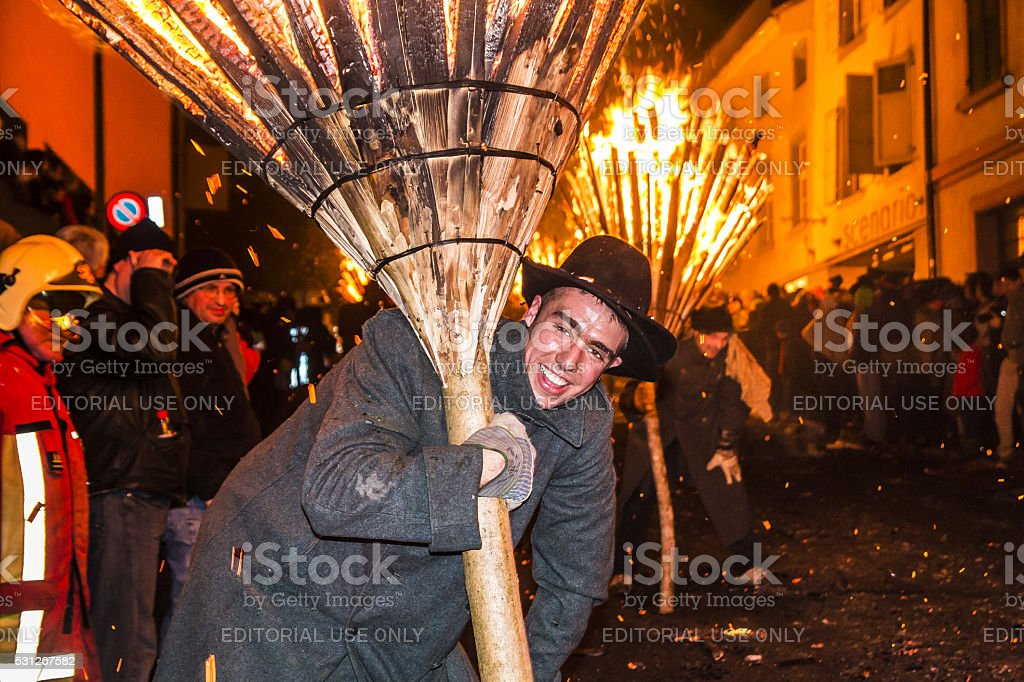 Chienbase Fasnach parade and attendees in Liestal, Switzerland stock photo