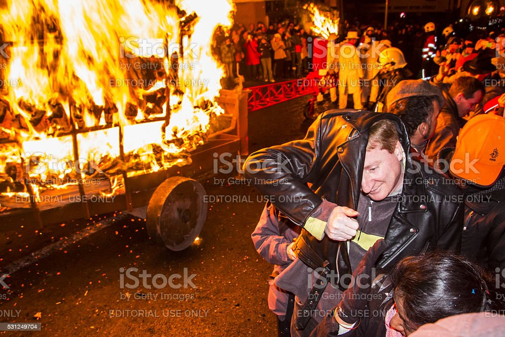 Chienbase Fastnach parade and attendees in Liestal, Switzerland stock photo