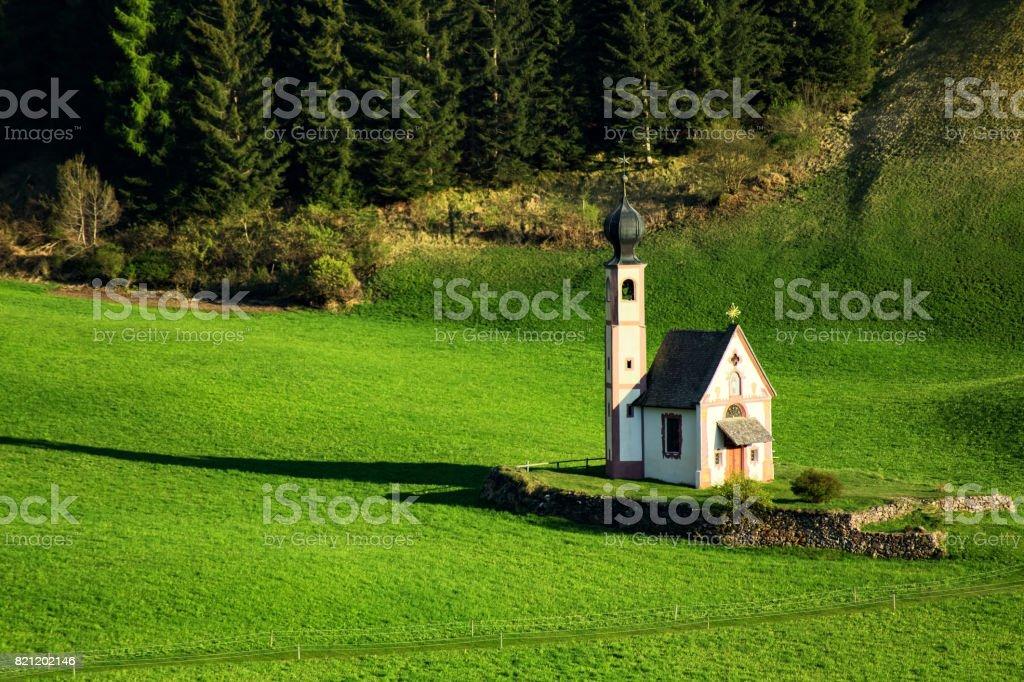 Chiesetta di San Giovanni in Ranui. Val di Funes, Italy stock photo