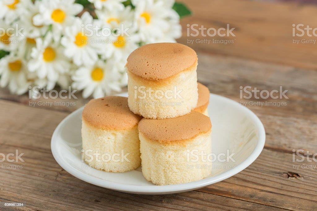 Chiffon cup cake. stock photo