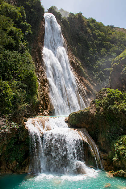 Chiflon waterfall in Chiapas, Mexico. stock photo