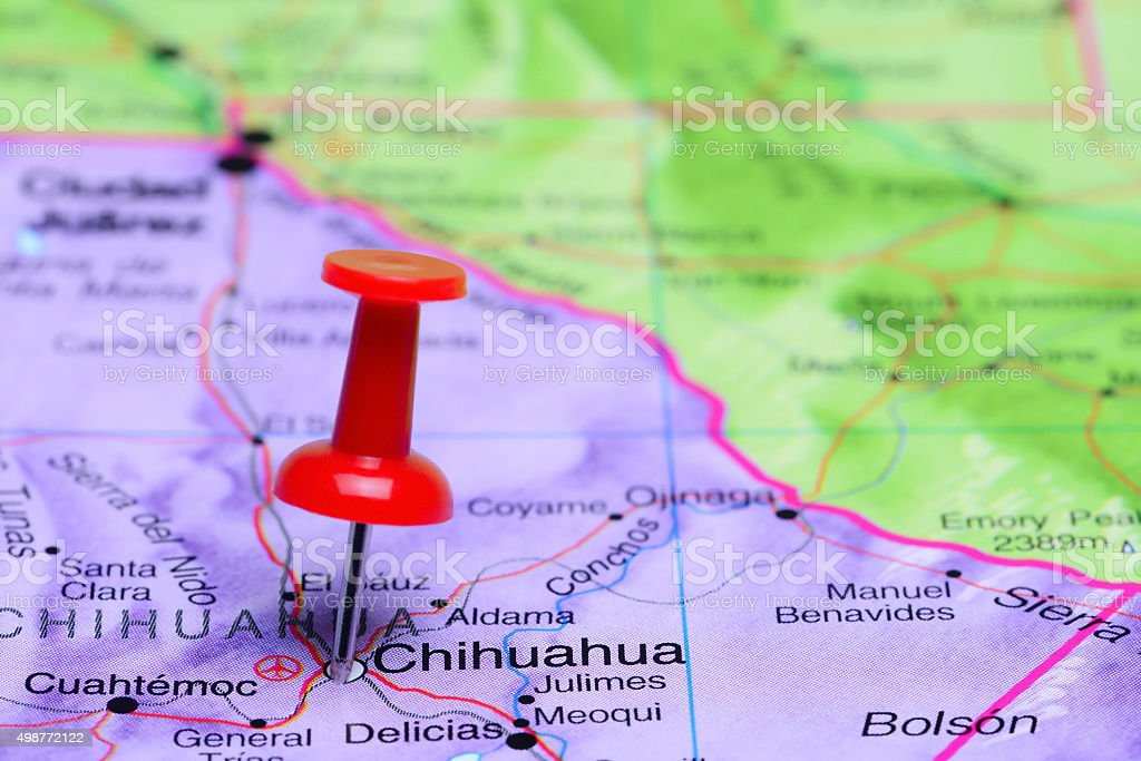 Chihuahua pinned on a map of Mexico stock photo