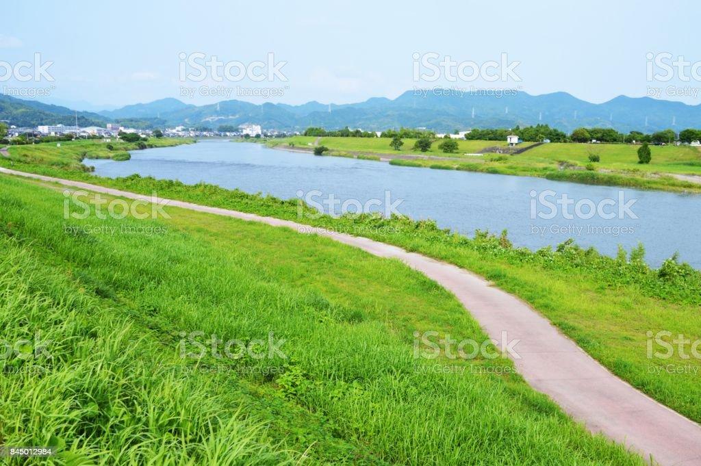 Chikugo-river Asakura-city Fukuoka Japan stock photo