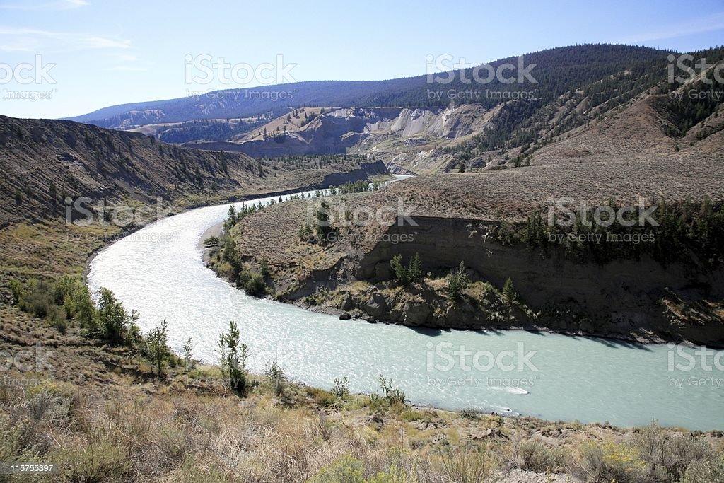 Chilcotin River near Farwell Canyon, British Columbia. stock photo
