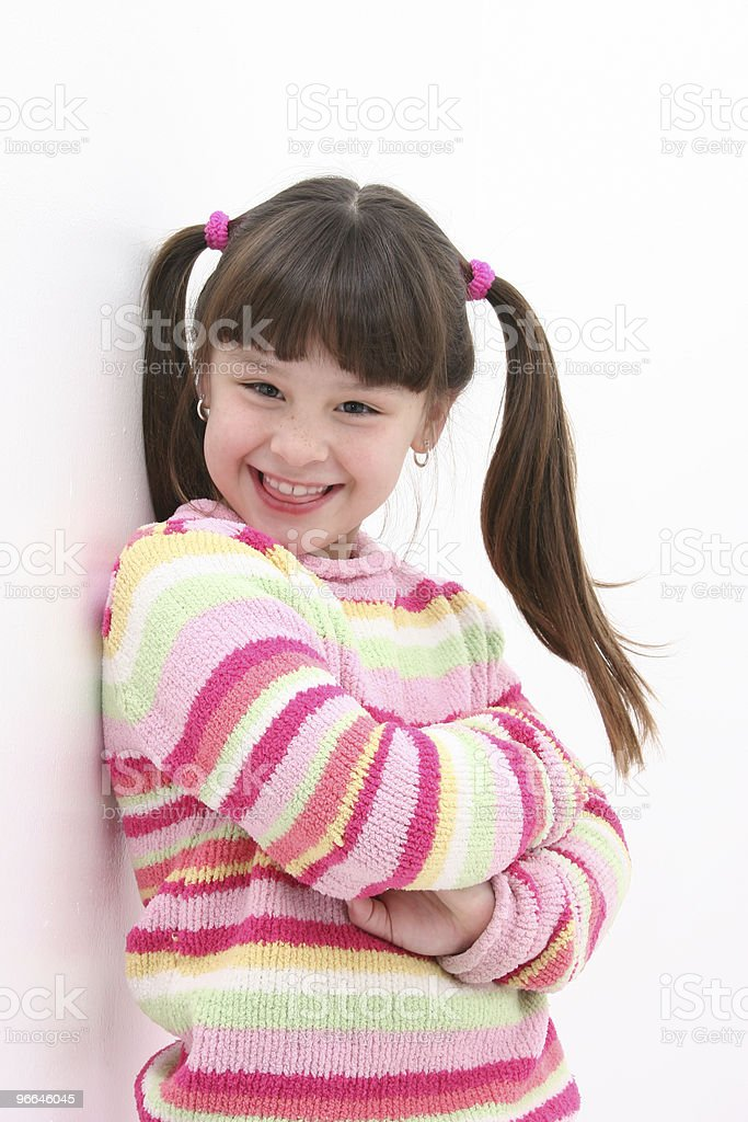 Child (girl) Against the Wall stock photo