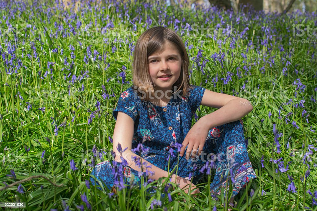 Child amongst the bluebells stock photo