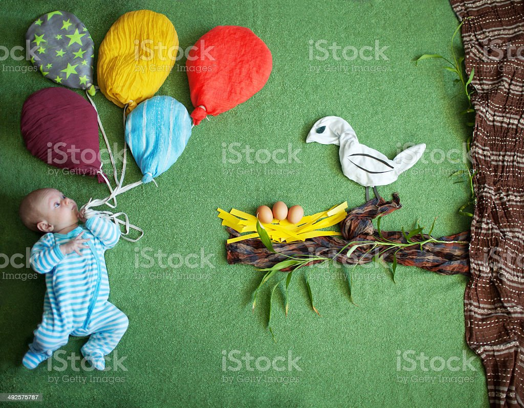 Child and a bird stock photo