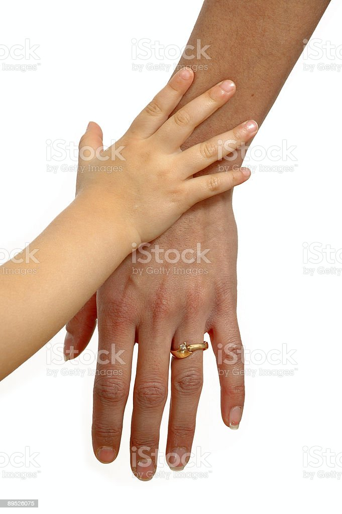 Child and adult hands royalty-free stock photo