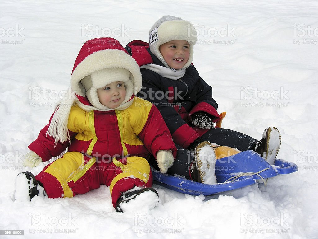 child and baby. winter royalty-free stock photo