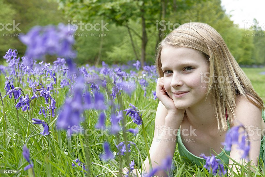 Child and bluebells royalty-free stock photo