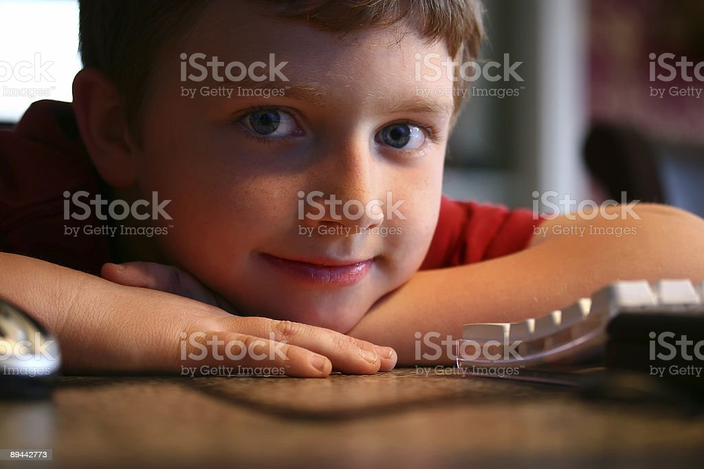Child and computer royalty-free stock photo
