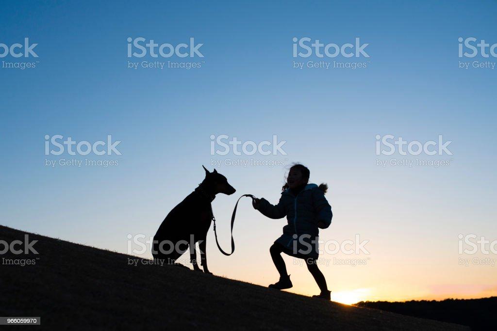 Kind und Dobermann silhouette - Lizenzfrei Dobermann Stock-Foto