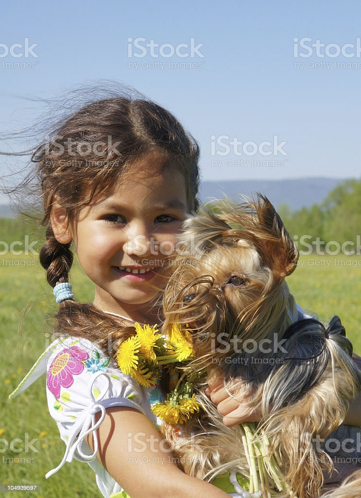 child and dog royalty-free stock photo