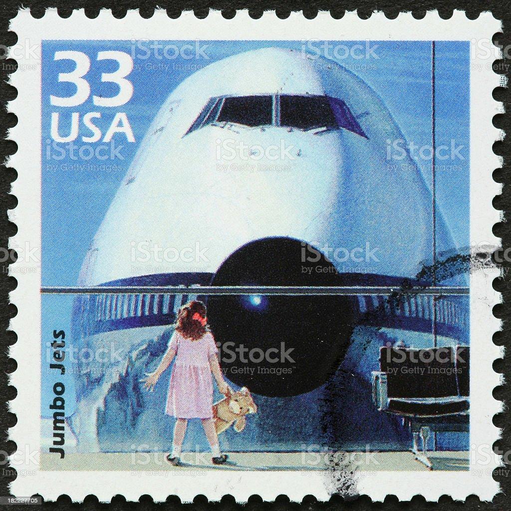 child and jumbo jet royalty-free stock photo