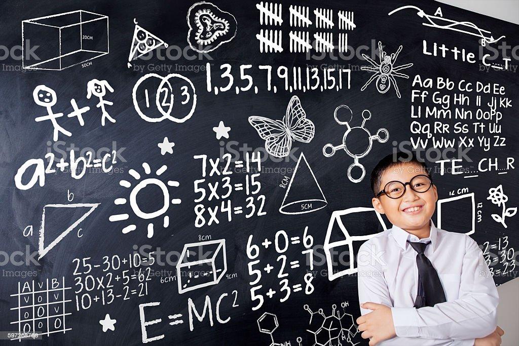 Child and mathematics formula Lizenzfreies stock-foto
