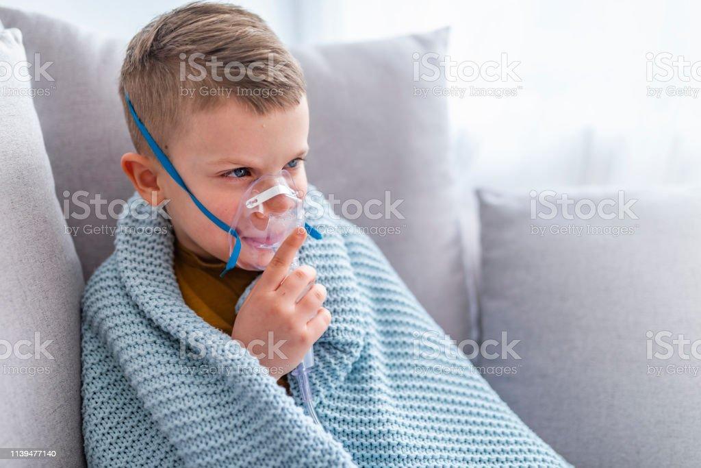 Child Asthma Inhaler Inhalation Nebulizer Steam Sick Cough Concept