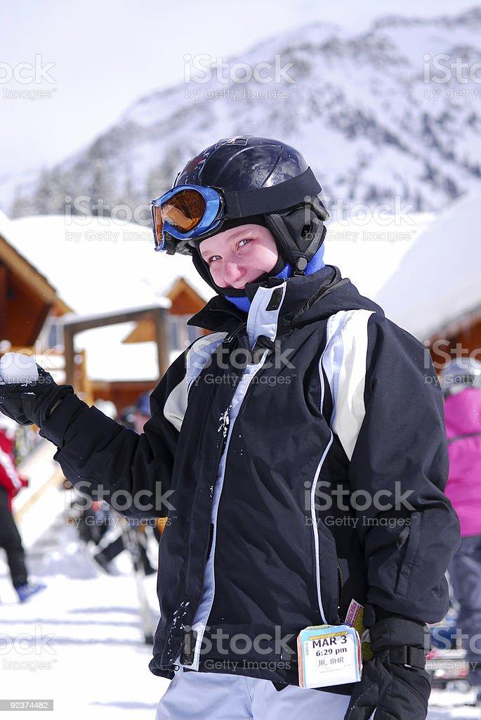Child at downhill skiing resort royalty-free stock photo