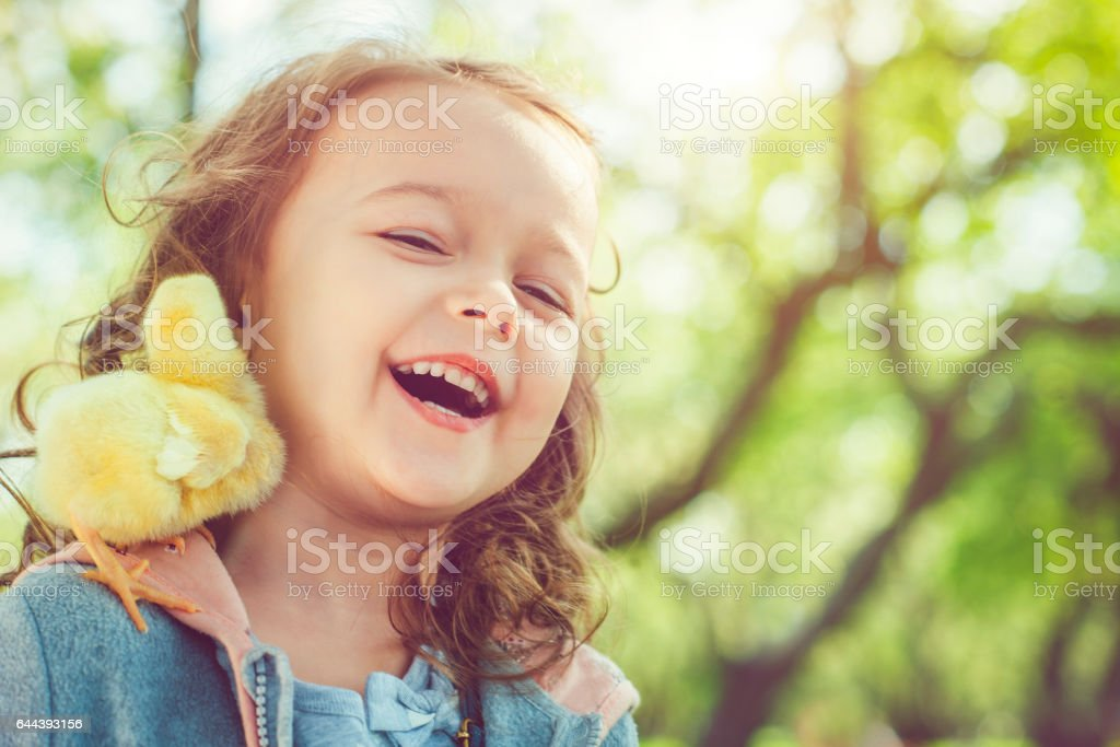 Child at Easter stock photo