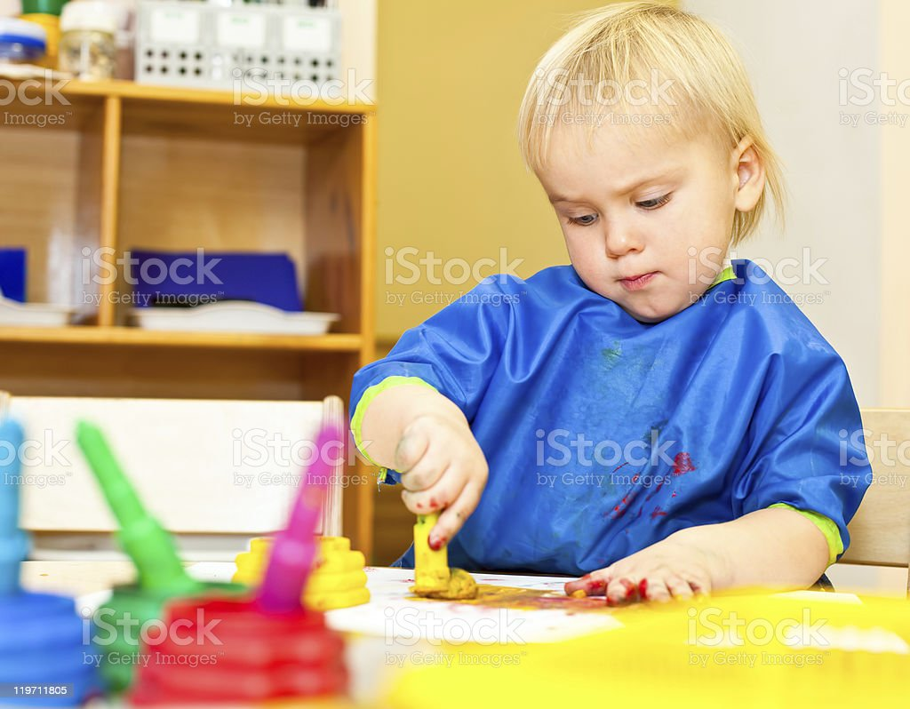 Child at painting lesson royalty-free stock photo
