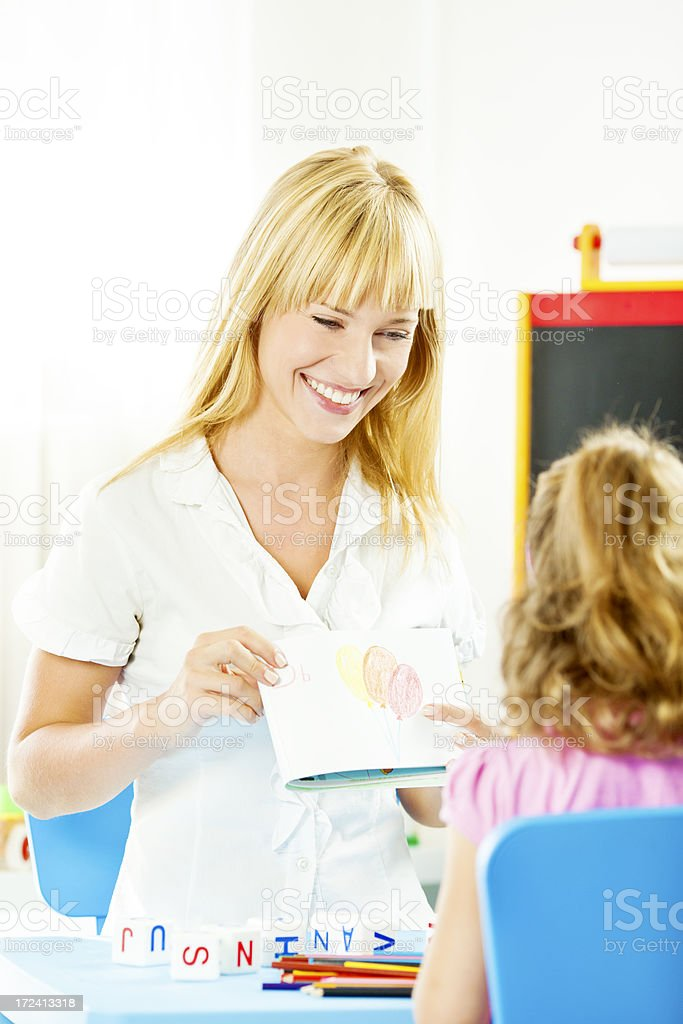 Child at Speech Therapy. stock photo
