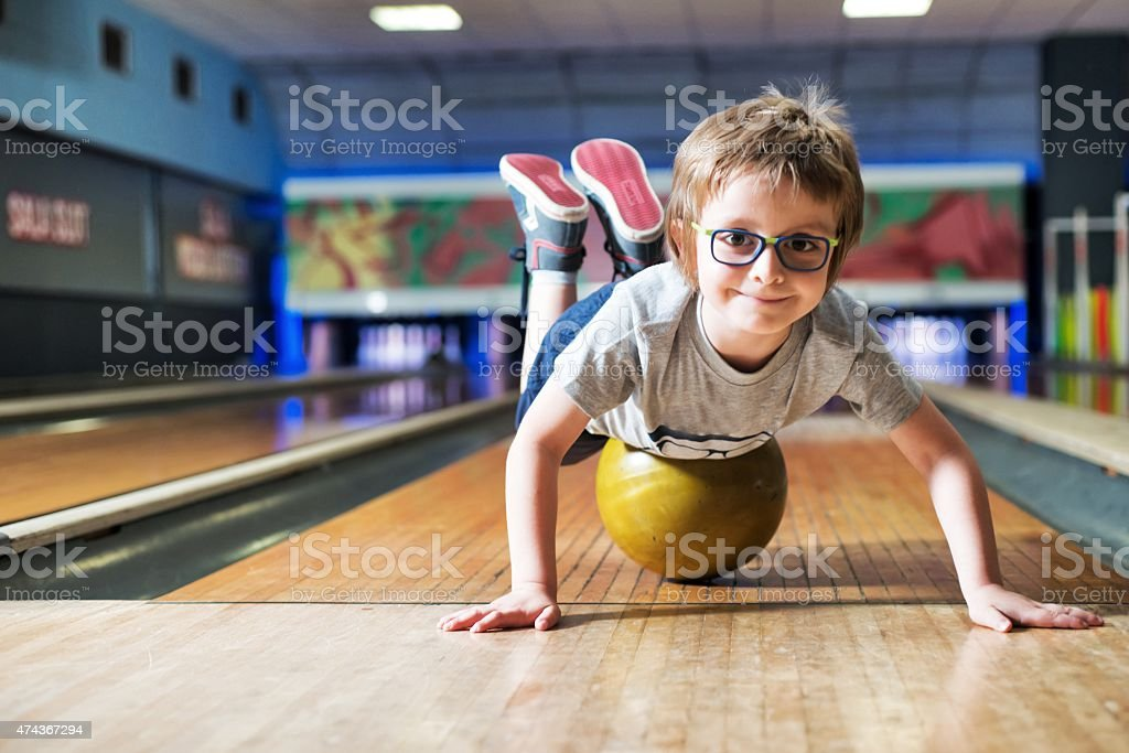 Child at the Bowling stock photo