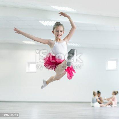 Child ballerina on ballet practice jumping