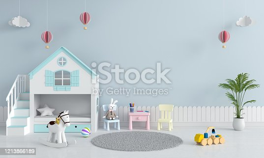 istock Child bedroom interior for mockup, 3D rendering 1213866189