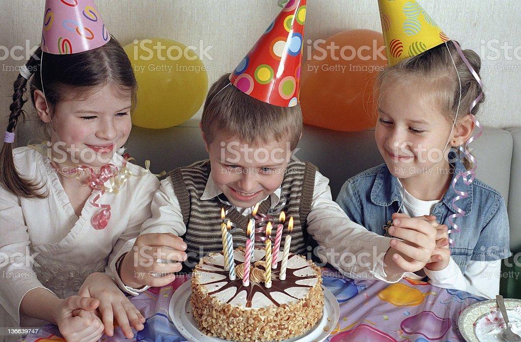 child birthday party stock photo