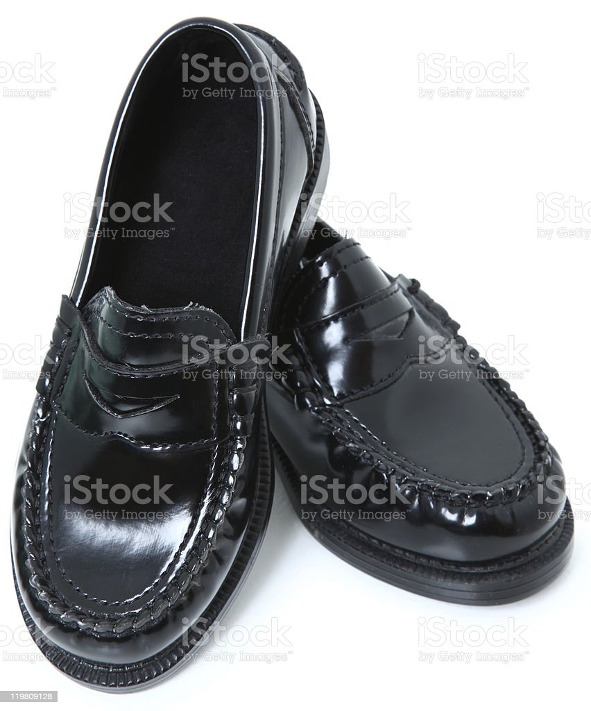 Child Black Dress Shoes royalty-free stock photo