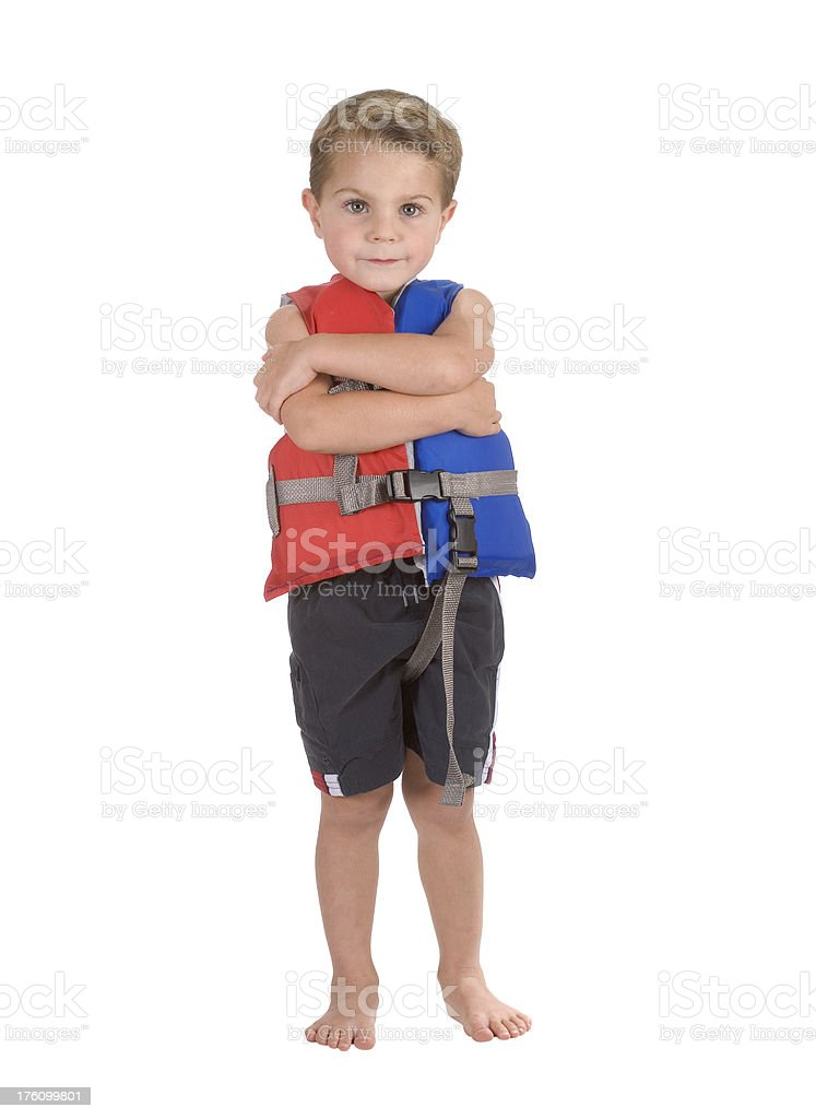 Child / Boy In Life Vest / Jacket Arms Crossed royalty-free stock photo